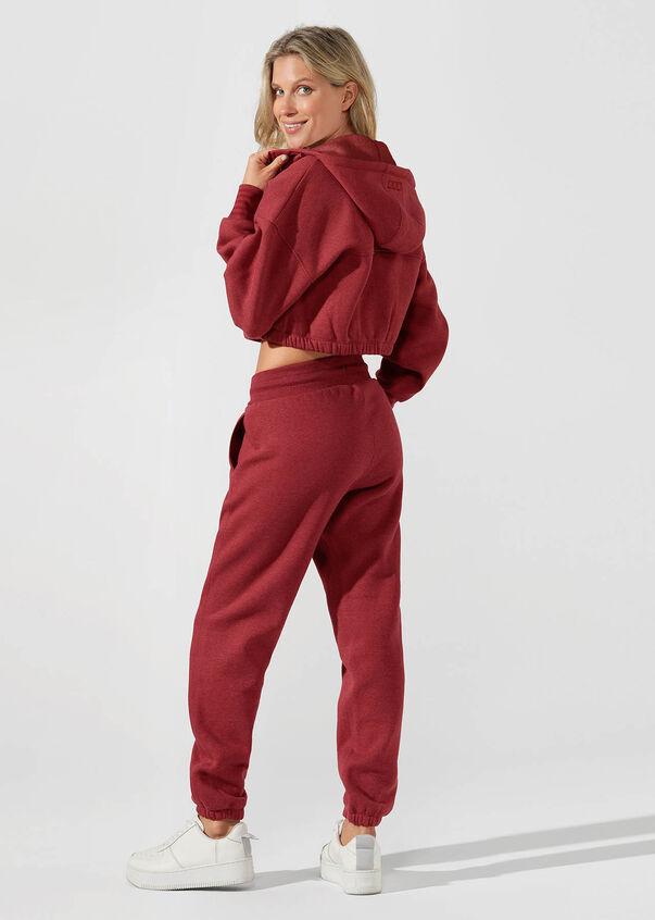 Kourtney Cropped Hoodie, Dark Red Marl, hi-res