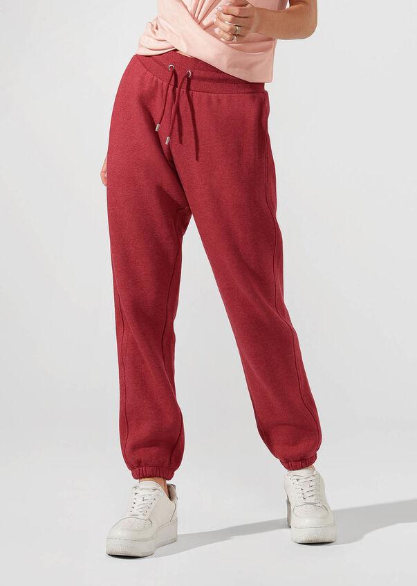 Kourtney Tracksuit Pant, Dark Red Marl, hi-res