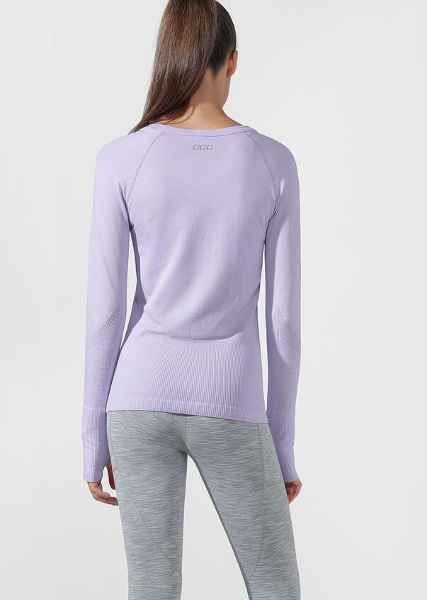 Comfort Seamless Long Sleeve Top, Pale Violet, hi-res