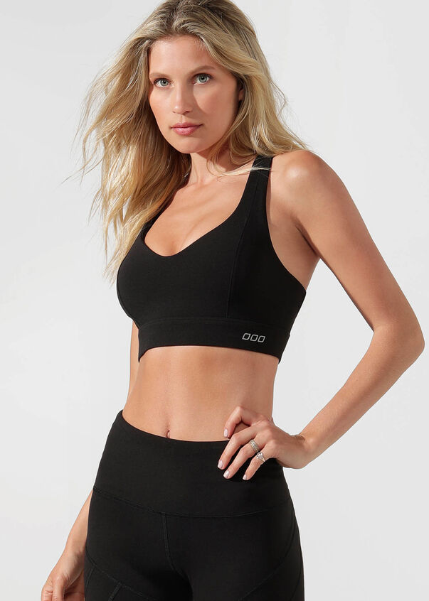 Stamina Full Coverage Sports Bra, Black, hi-res
