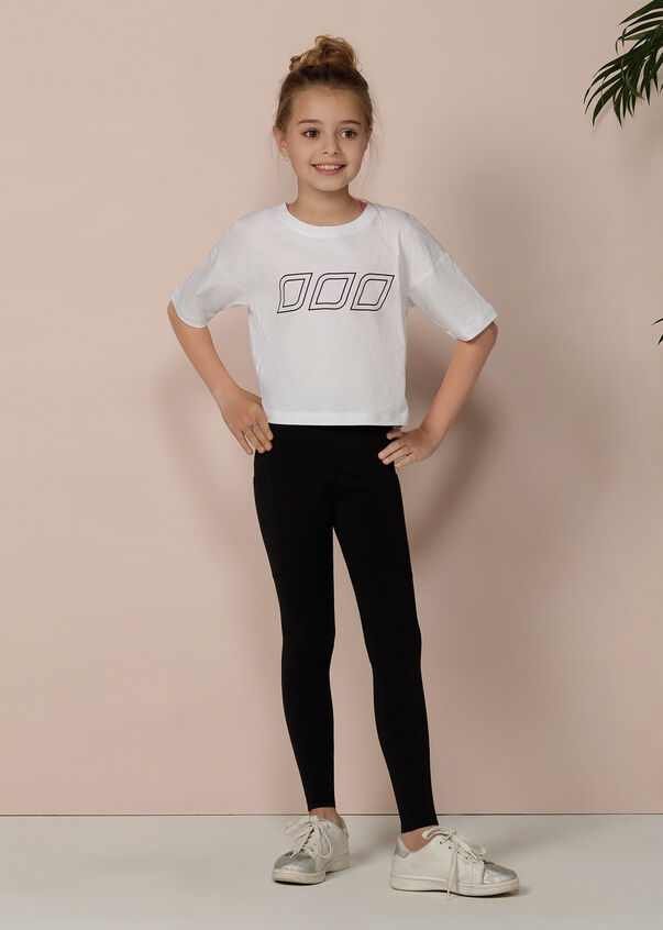 LJ Classic Cropped Tee - Tween, White, hi-res