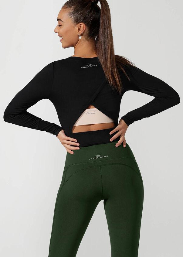 Workout Bare Minimum Cropped Top, Black, hi-res