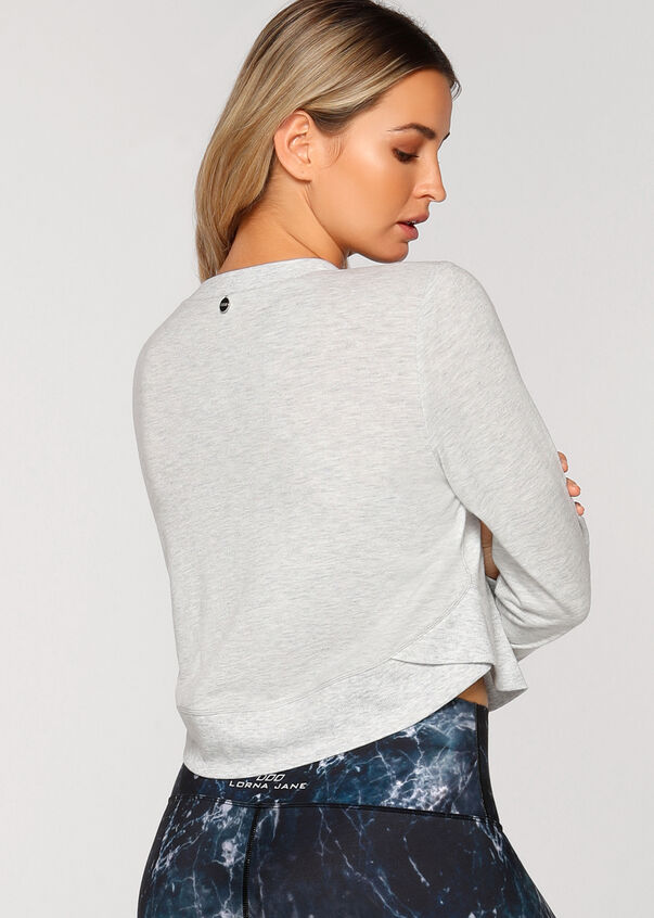 Feather Cropped Sweat, Grey Marl, hi-res
