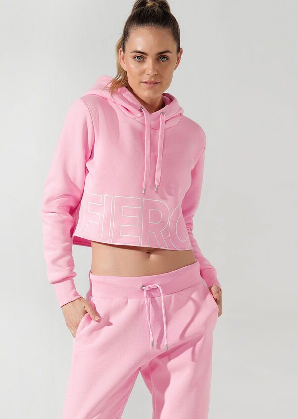Fierce Cropped Hoodie, Hot Fuchsia, hi-res