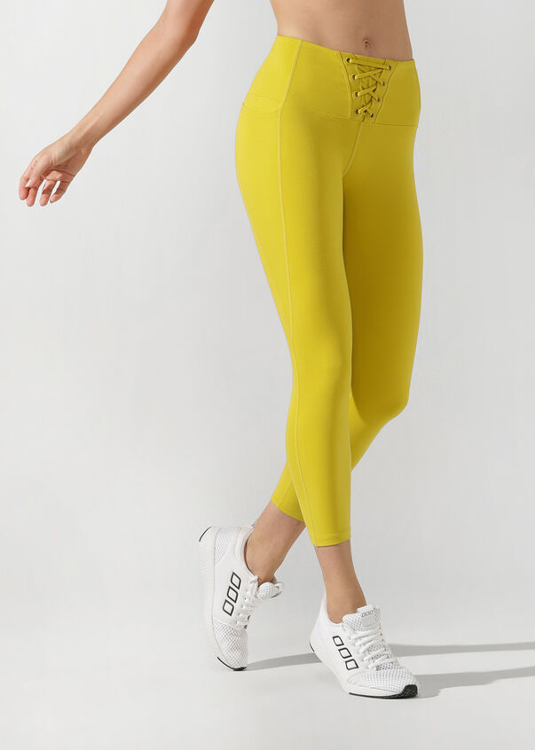 Lace Up Ankle Biter Tight, Acid Yellow, hi-res