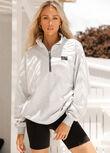 LJ Sport Quarter Zip Sweat, Light Grey Marl, hi-res