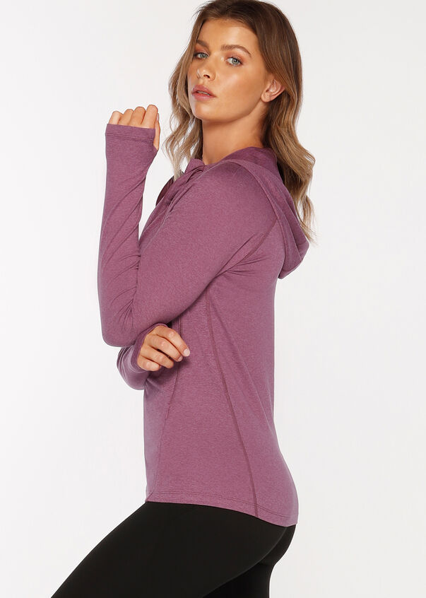 Ava Active Hooded Zip Through, Washed Mauve Marl, hi-res