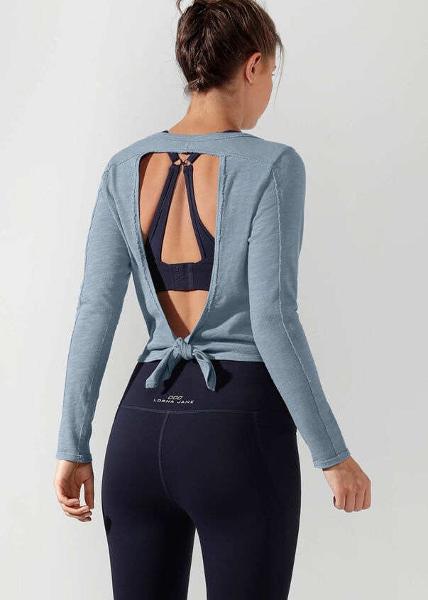 Open Back Cropped long Sleeve Top, Washed Out Blue, hi-res