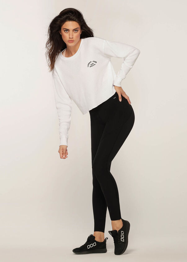 Down Time Long Sleeve Cropped Sweat, White, hi-res