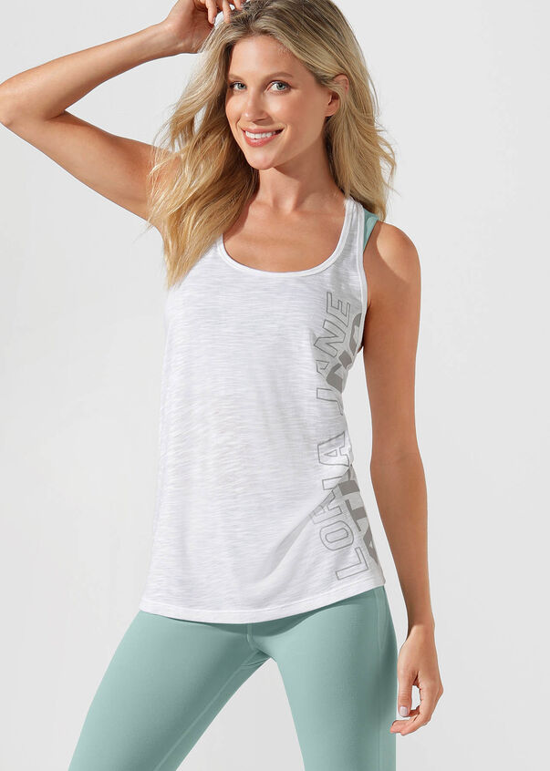 Athletic Slouchy Gym Tank, White, hi-res