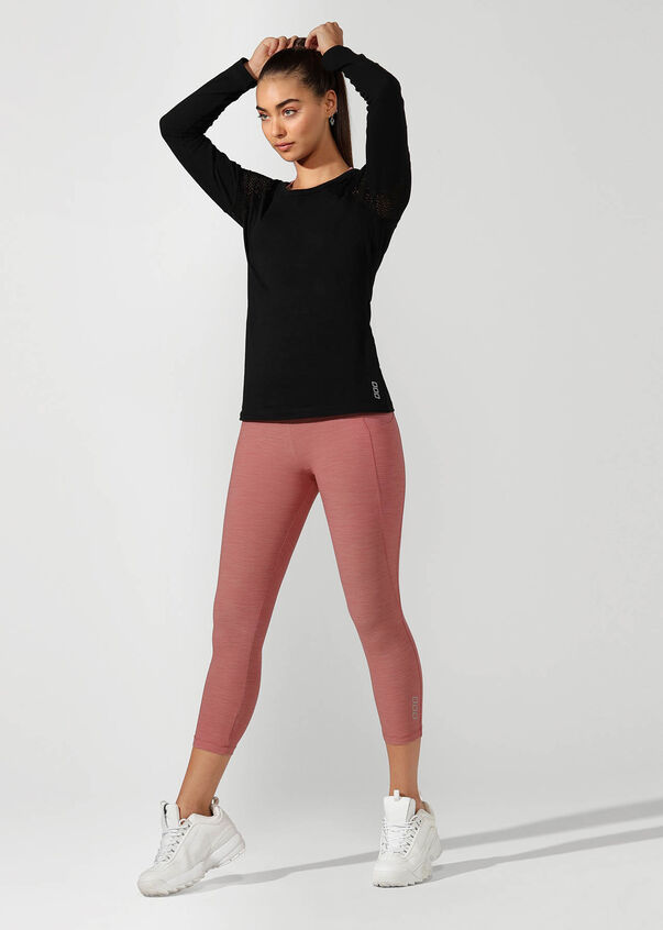 Simple And Classic Long Sleeve Top, Black, hi-res