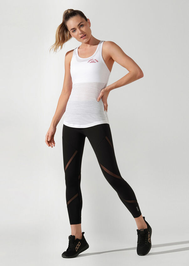 Luxe Athletic Tank, White, hi-res