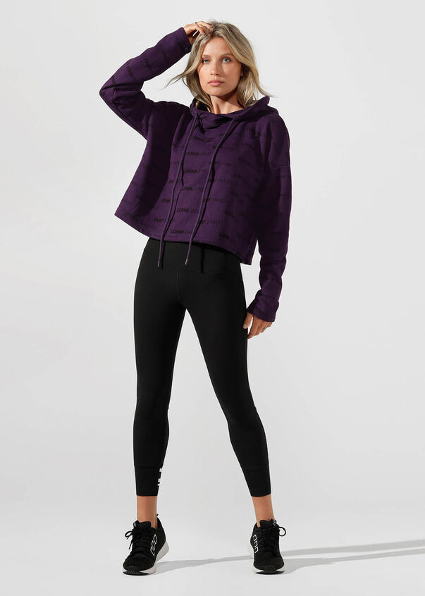 Iconic Cropped Hoodie, Midnight Purple, hi-res