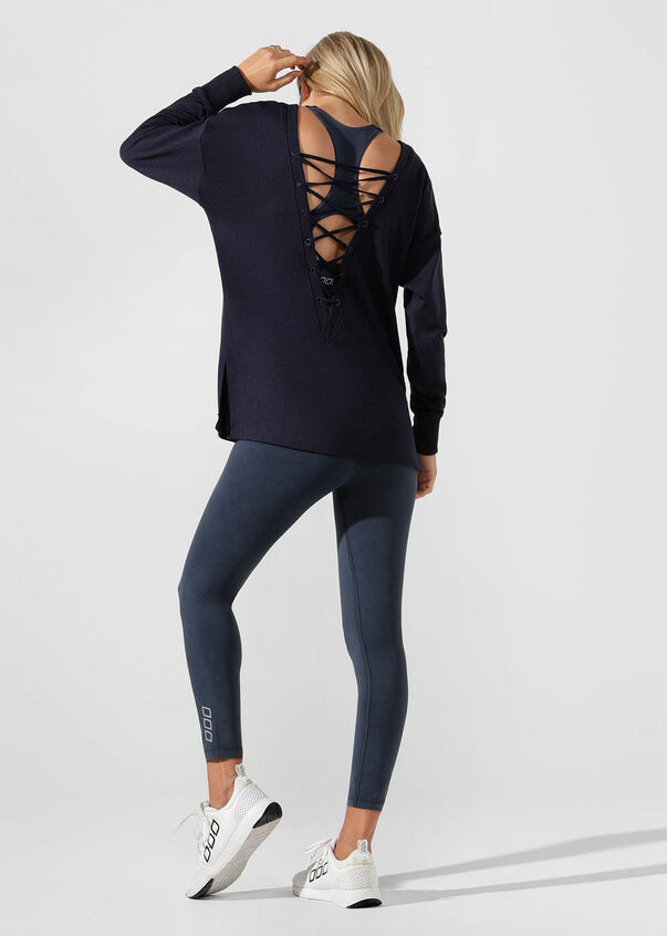 Lacy Open Back Long Sleeve Top, Ink, hi-res