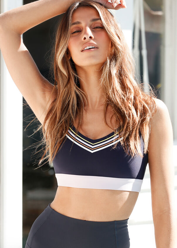 Sideline Sports Bra, French Navy, hi-res