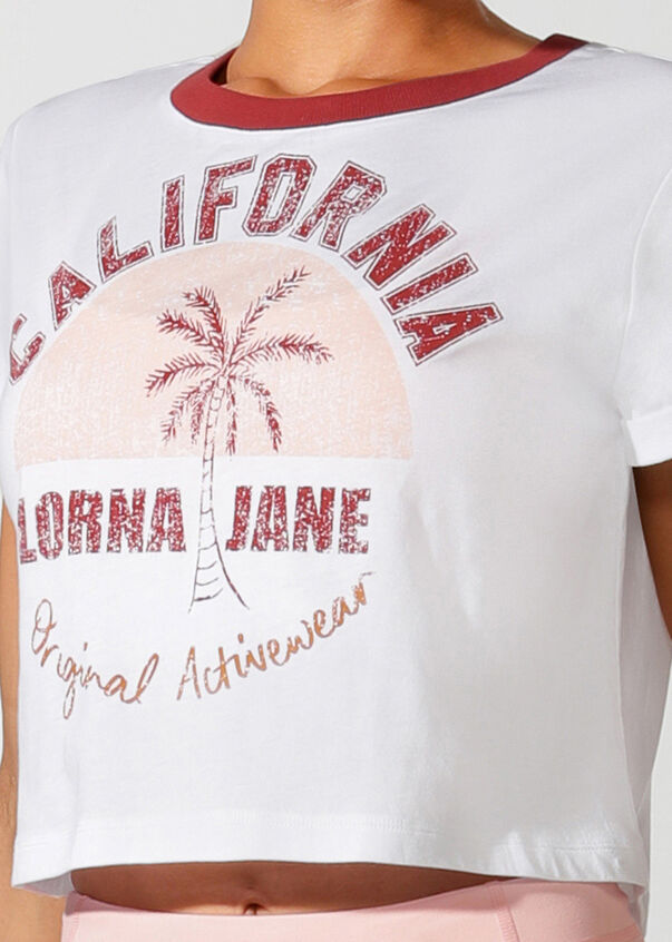 Cali Cropped Short Sleeve Tee, White, hi-res