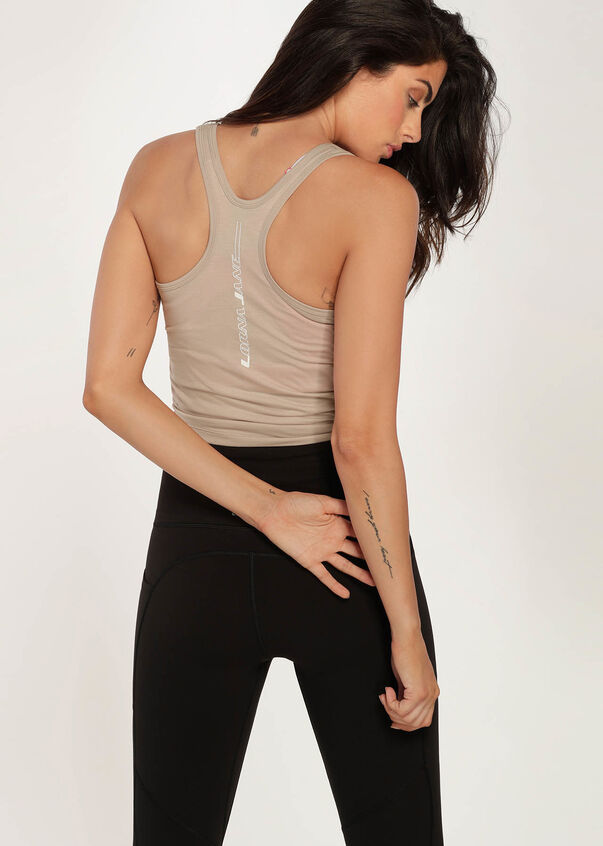 Push It Cropped Active Tank, Off White, hi-res