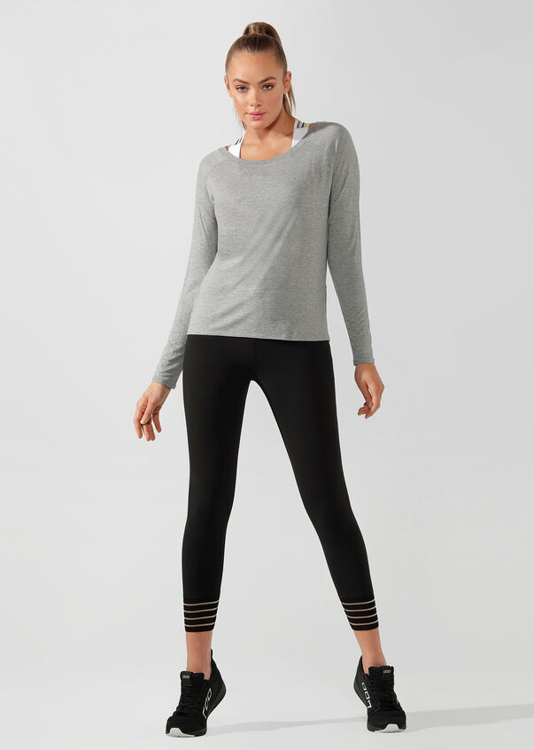 LJ Long Sleeve Open Back Active Top, Mid Grey Marl, hi-res