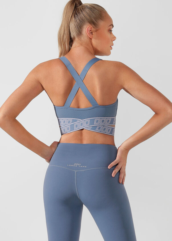 Strength Sports Bra, Steel Blue, hi-res