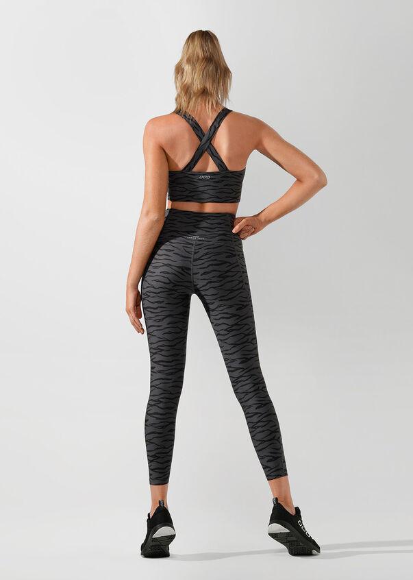 Zebra Long Line Sports Bra, Titanium/Zebra Print, hi-res