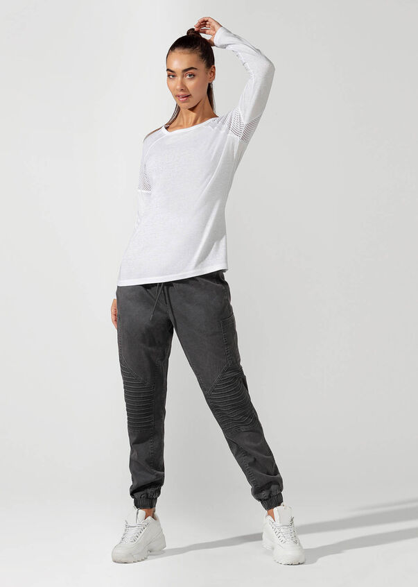 Simple And Classic Long Sleeve Top, White, hi-res