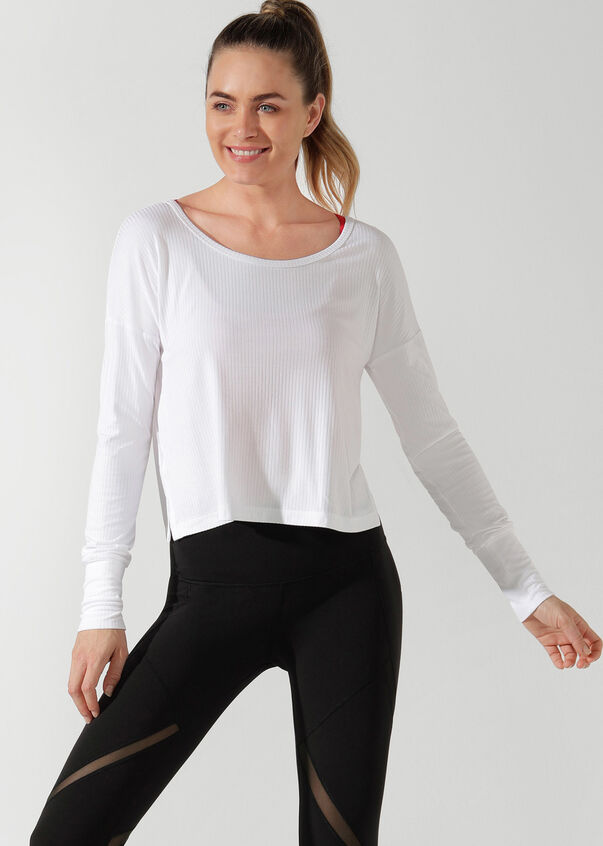 Mist Long Sleeve Top, White, hi-res